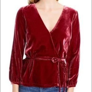 J. Crew Faux-wrap top in drapey velvet
